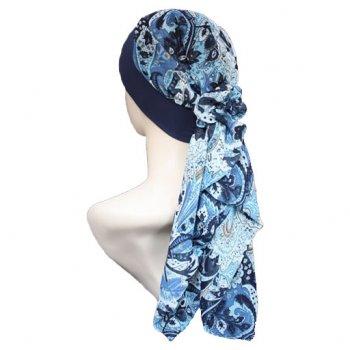 Lara Band Scarf Floral Shades Of Blue