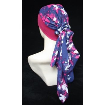 Lara Band Scarf Floral Vino and White on Navy/Vino Band