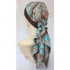 Lara Band Scarf Greek Blue (Chocolate Brown Band)
