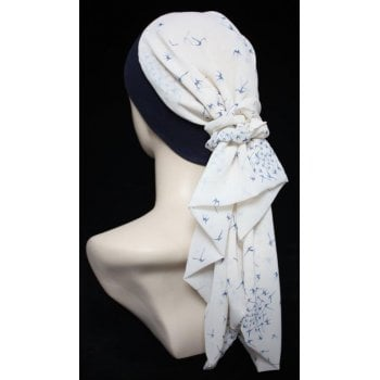 Lara Band Scarf Navy Birds on Cream/Navy Band