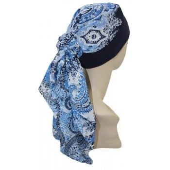 Lara Band Scarf Navy Blue Paisley/Navy Band