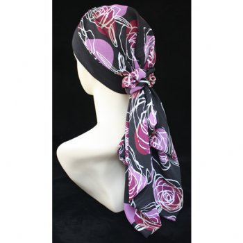Lara Band Scarf Plum Floral On Black (Black Band)