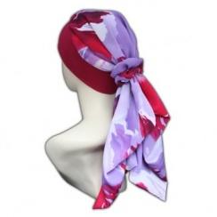 Lara Band Scarf Summer Red (Lilac, White And Purple)