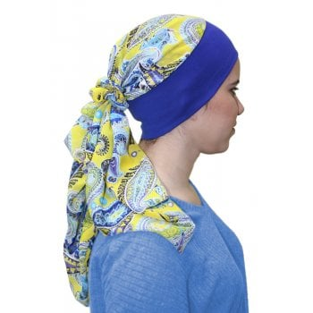 Lara Band Scarf Yellow Paisley/Royal Blue Band