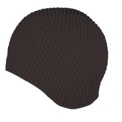 Large Black Bubble Crepe Non Pull Swim Cap