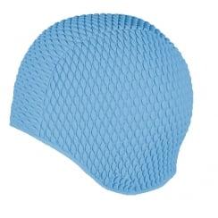 Large Blue Bubble Crepe Non Pull Swim Cap