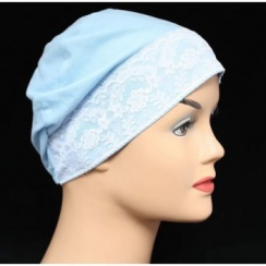 Light Blue (Sky) Lace Sleep Cap Lightweight 100% Cotton Jersey