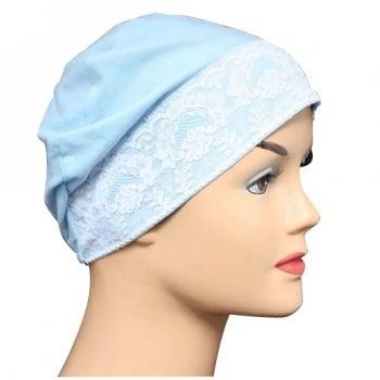 Light Blue (Sky) Lace Sleep Cap Lightweight 100% Cotton Jersey