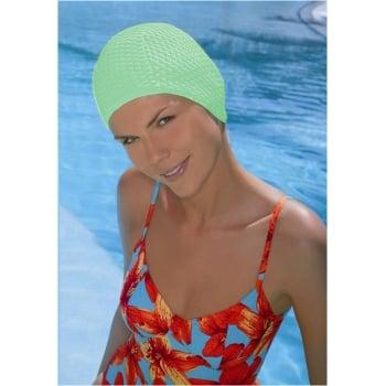 Light Green Bubble Crepe Non Pull Swim Cap
