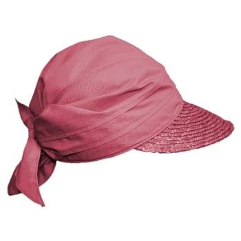 Light Maroon Straw Visor Hat By Seeberger