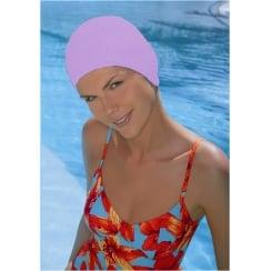 Lilac Bubble Crepe Non Pull Swim Cap