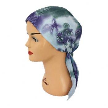 Lilac Dream Padded Chiffon Head Tie Scarf (Grey Blue And Green)