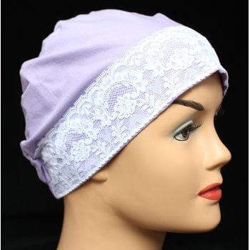 Lilac Lace Sleep Cap Lightweight 100% Cotton Jersey