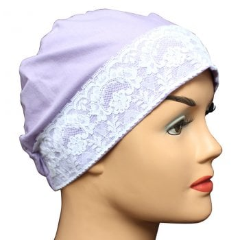 Lilac Lace Sleep Cap Lightweight 100% Cotton Jersey