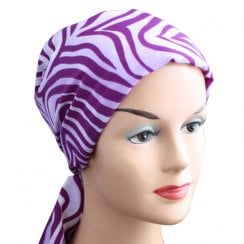 Lilac Purple Abstract Padded Chiffon Head Tie Scarf