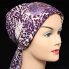 Lilac Purple Print Padded Chiffon Head Tie Scarf