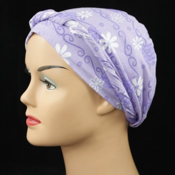 Lilac White Daisies Cotton Jersey Tie Scarf