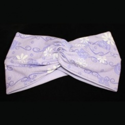 Lilac White Daisies Cotton Jersey Twist Wrap