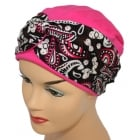 LIMITED EDITION! Elegant Fuschia Turban Hat With A Paisley Fuschia/Black Twist Wrap