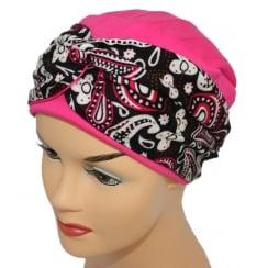 LIMITED EDITION! Elegant Fuschia Turban Hat With A Paisley Fuschia/Black Twist Wrap