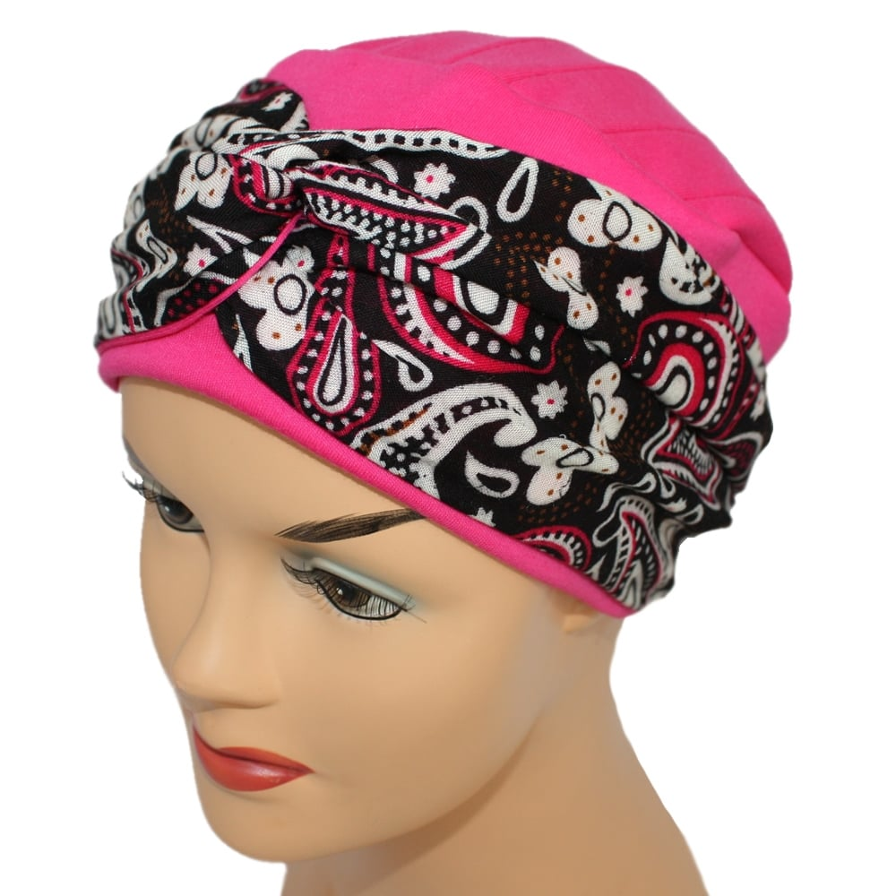 LIMITED EDITION! Elegant Fuschia Turban Hat With A Paisley Fuschia ... cdc48d52173
