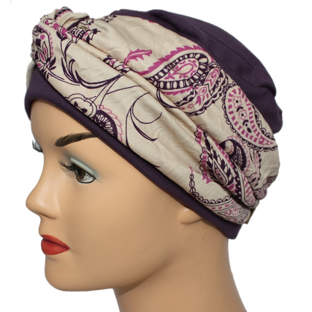 Limited Edition Elegant Plum Turban Hat With A Paisley