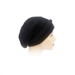 Long Beanie Hat Knitted Black