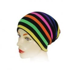 Long Beanie Hat Multicoloured On Black