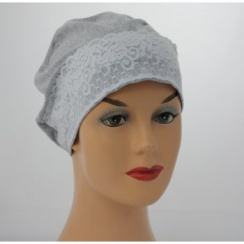 Marl Grey Lace Sleep Cap Lightweight 100% Cotton Jersey