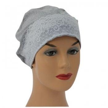 Marl Grey Lace Sleep Cap Lightweight 100% Cotton Jersey