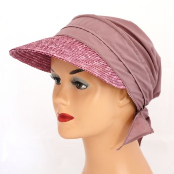 Mauve Straw Visor Hat By Seeberger