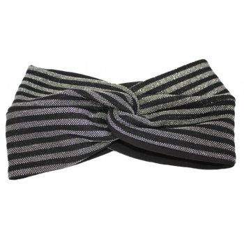 Metallic Black Silver Stripe On Black Twist Wrap