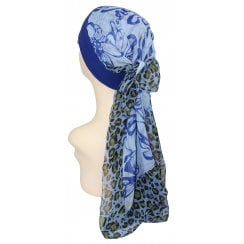 Mia Band Scarf Animal with Shades of Royal Blue - Unique