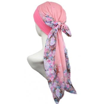 Mia Band Scarf Floral Shades Of Coral
