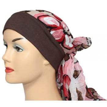 Mia Band Scarf Floral Shades Of Red and Brown - Unique