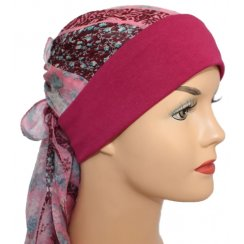 Mia Band Silk Sarf Pink Floral and Brown with Vino Red Band