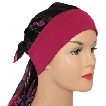 Mia Band Silk Sarf Pink Floral/Gold Lurex with Vino Red Band