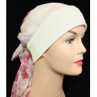 Mia Band Silk Sarf Pink Floral on Cream with Cream Band