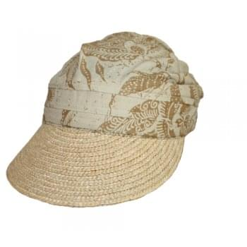 Natural and Tan Straw Visor Hat By Seeberger