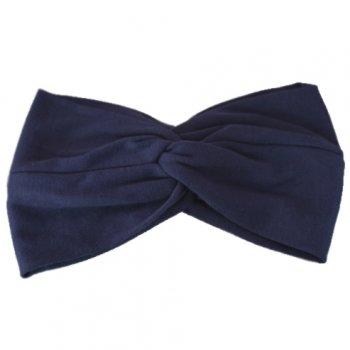 Navy Blue Cotton Jersey Twist Wrap