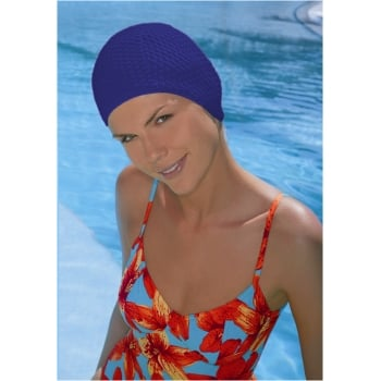 Navy Bubble Crepe Non Pull Swim Cap