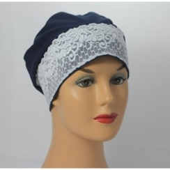 Navy Lace Sleep Cap Lightweight 100% Cotton Jersey