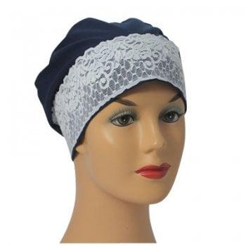 Navy Lace Sleep Cap Lightweight 100% Cotton Jersey