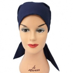 Navy Padded Cotton Head Tie Scarf