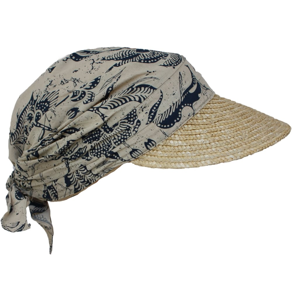 Navy Print on Cream Straw Visor Hat By Seeberger - Seeberger Visor ... 7d70ccba8f0