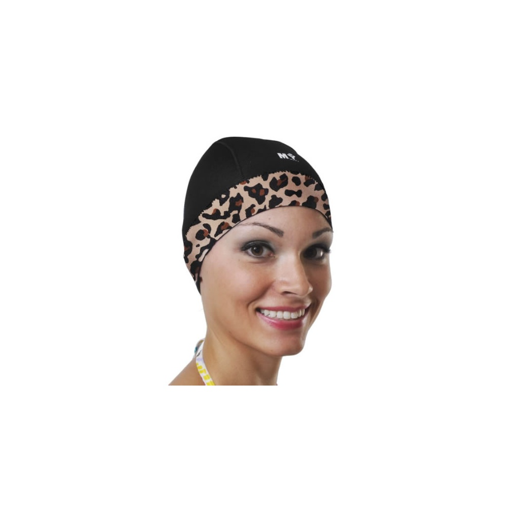 Neoprene Adjustable Swim Caps In Black Leopard (Diva) 997e49bf988