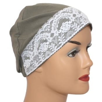 Olive Lace Sleep Cap Lightweight 100% Cotton Jersey