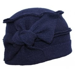 Paris 100% Boiled Wool Hat In Navy with a FREE Bamboo Lining