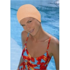 Peach Bubble Crepe Non Pull Swim Cap