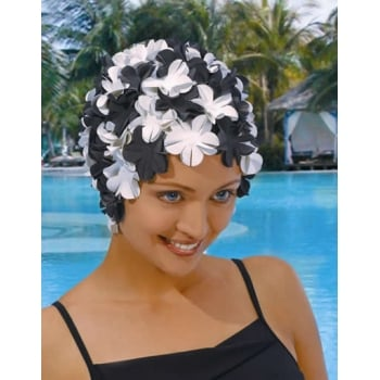 Petal Swim Cap Black/Off White
